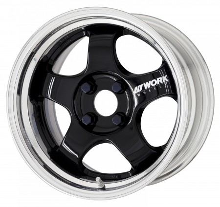 GLOSS BLACK [BLK] CENTRE DISK WITH POLISHED ANODIZED STEP RIM