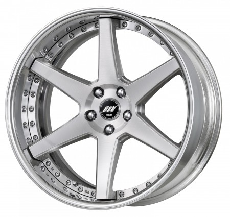 BRUSHED [BRU] MIDDLE CONCAVE CENTRE DISK, POLISHED ANODIZED FLAT RIM WITH CHROME RIVETS