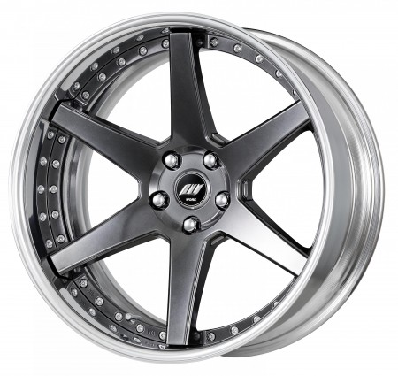 BRILLIANT SILVER BLACK [BSB] DEEP CONCAVE CENTRE DISK, POLISHED ANODIZED FLAT RIM WITH CHROME RIVETS