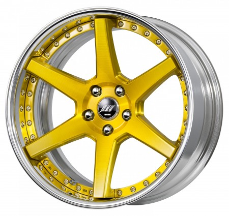 BRUSHED IMPERIAL GOLD [BUI] DEEP CONCAVE CENTRE DISK, POLISHED ANODIZED FLAT RIM WITH CHROME RIVETS