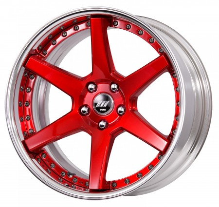 BRUSHED CLEAR RED [BUR] DEEP CONCAVE CENTRE DISK, POLISHED ANODIZED FLAT RIM WITH CHROME RIVETS