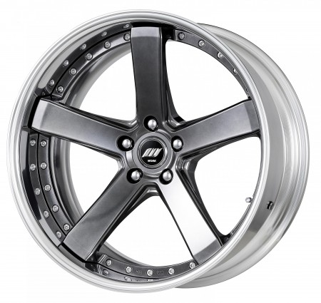 BRILLIANT SILVER BLACK [BSB] MIDDLE CONCAVE CENTRE DISK, POLISHED ANODIZED FLAT RIM WITH CHROME RIVETS