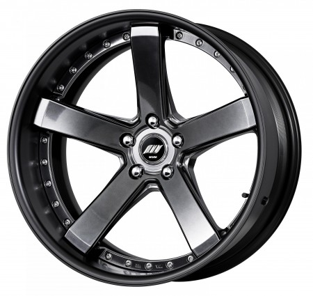 BRILLIANT SILVER BLACK [BSB] DEEP CONCAVE CENTRE DISK, FLAT BLACK ANODIZED FLAT RIM WITH CHROME RIVETS