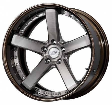 TRANS GRAY BRUSHED [BUA]  DEEP CONCAVE CENTRE DISK, GLOSS BRONZE ANODIZED FLAT RIM WITH CHROME RIVETS