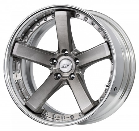 TRANS GRAY BRUSHED [BUA] DEEP CONCAVE CENTRE DISK, POLISHED ANODIZED FLAT RIM WITH CHROME RIVETS