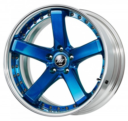 CLEAR BLUE BRUSHED [BUL] DEEP CONCAVE CENTRE DISK, POLISHED ANODIZED FLAT RIM WITH CHROME RIVETS