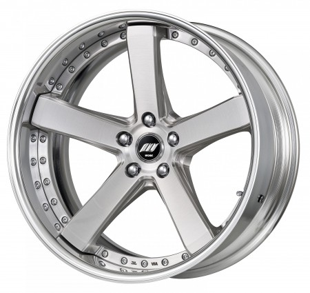 BRUSHED [BRU] DEEP CONCAVE CENTRE DISK, POLISHED ANODIZED FLAT RIM WITH CHROME RIVETS