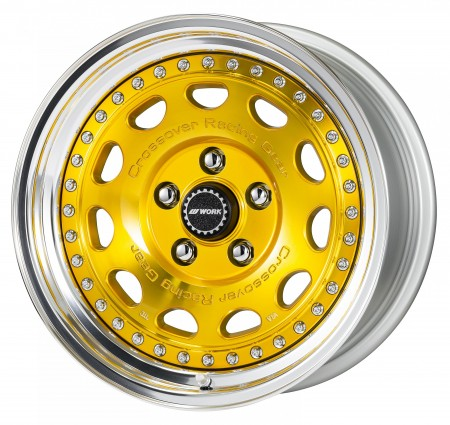 IMPERIAL GOLD [IPG] CENTRE DISK, POLISHED ANODIZED STEP RIM WITH CHROME RIVETS
