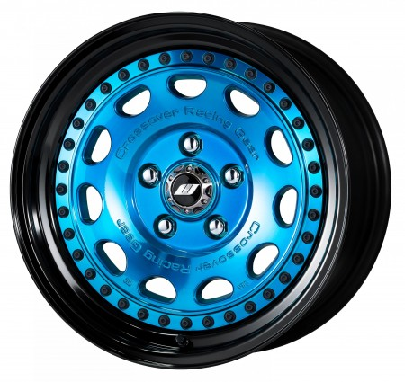 CLEAR BLUE [MCB] CENTRE DISK, GLOSS BLACK ANODIZED STEP RIM WITH BLACK RIVETS