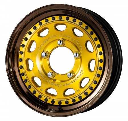 IMPERIAL GOLD [IPG] CENTRE DISK, GLOSS BRONZE ANODIZED STEP RIM WITH BLACK RIVETS