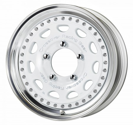 GLOSS WHITE [WHT] CENTRE DISK, POLISHED ANODIZED STEP RIM WITH CHROME RIVETS