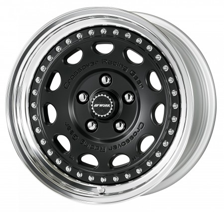 MATT BLACK [MBL] CENTRE DISK, POLISHED ANODIZED STEP RIM WITH CHROME RIVETS
