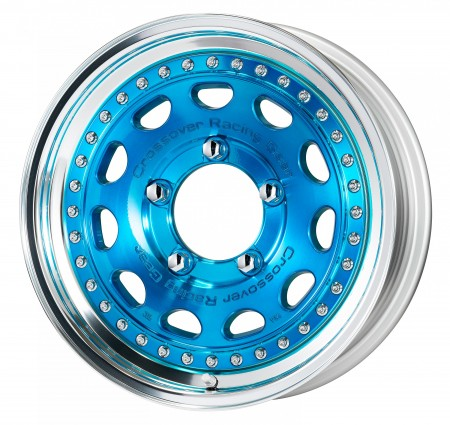 CLEAR BLUE [MCB] CENTRE DISK, POLISHED ANODIZED STEP RIM WITH CHROME RIVETS
