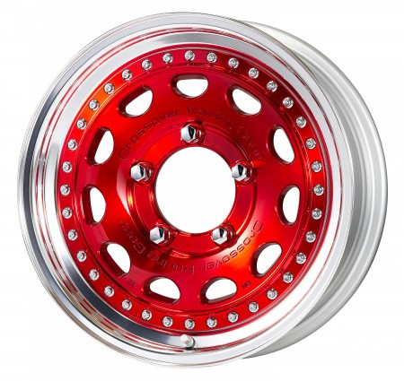 CLEAR RED [MCR] CENTRE DISK, POLISHED ANODIZED STEP RIM WITH CHROME RIVETS