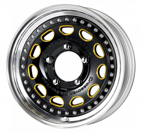 BLACK CHAMFER IMPERIAL GOLD [BIM] CENTRE DISK, POLISHED ANODIZED STEP RIM WITH CHROME RIVETS
