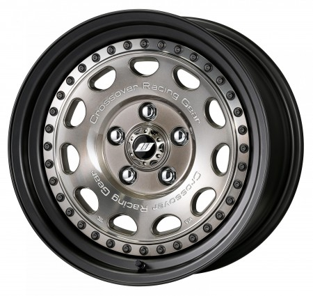 TRANS GRAY POLISH [TPG2] CENTRE DISK, MATT BLACK ANODIZED STEP RIM WITH BLACK RIVETS