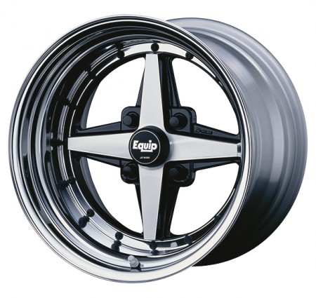 BLACK CUT CLEAR [BP] CENTRE DISK, POLISHED ANODIZED STEP RIM WITH BLACK RIVETS