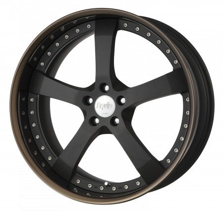 BLACK ANODIZED [SKA/B] CENTRE DISK, GLOSS BRONZE ANODIZED FLAT RIM WITH CHROME RIVETS