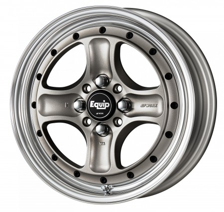 BRUT SILVER [BSL] CENTRE DISK, POLISHED ANODIZED STEP RIM WITH BLACK RIVETS [OVERHEAD TYPE]
