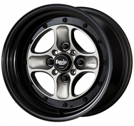 BRUT SILVER [BSL] CENTRE DISK, GLOSS BLACK ANODIZED STEP RIM WITH BLACK RIVETS