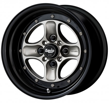 BRUT SILVER [BSL] CENTRE DISK, GLOSS BLACK ANODIZED STEP RIM WITH CHROME RIVETS