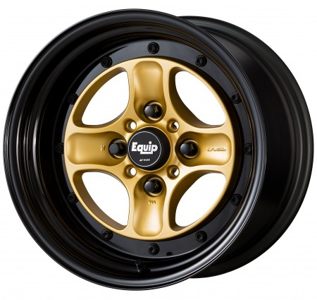 SPRINT GOLD [SGL] CENTRE DISK, GLOSS BLACK ANODIZED STEP RIM WITH BLACK RIVETS