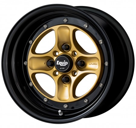 SPRINT GOLD [SGL] CENTRE DISK, GLOSS BLACK ANODIZED STEP RIM WITH CHROME RIVETS