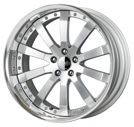 COMPOSITE BUFFED SILVER [CBS] CENTRE DISK, POLISHED ANODIZED FLAT RIM WITH CHROME RIVETS