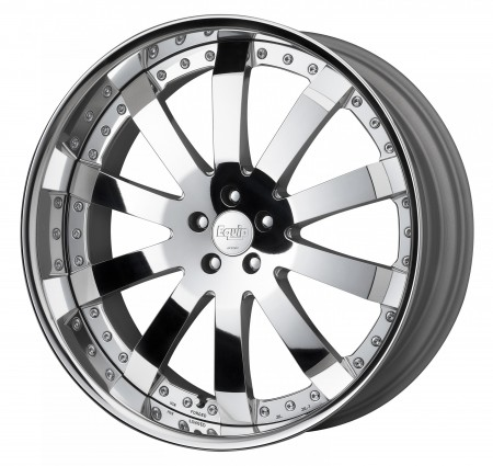 BUFFED FINISHED [BBF] CENTRE DISK, POLISHED ANODIZED FLAT RIM WITH CHROME RIVETS
