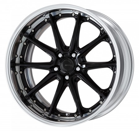 BLACK OUTER POLISH [BOP] CENTRE DISK, POLISHED ANODIZED FLAT RIM WITH CHROME RIVETS