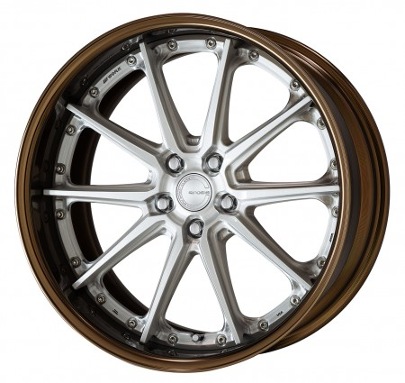 BUFFING FINISHED [PP2] CENTRE DISK, GLOSS BRONZE ANODIZED FLAT RIM WITH CHROME RIVETS