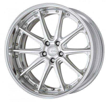 MATT SILVER [MSL] CENTRE DISK, POLISHED ANODIZED FLAT RIM WITH CHROME RIVETS
