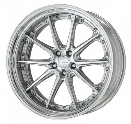 COMPOSITE BUFFING BRUSHED [PBU] CENTRE DISK, POLISHED ANODIZED STEP RIM WITH CHROME RIVETS
