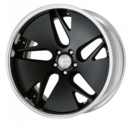 MATT BLACK [MBL] DEEP CONCAVE CENTRE DISK WITH POLISHED ANODIZED FLAT RIM