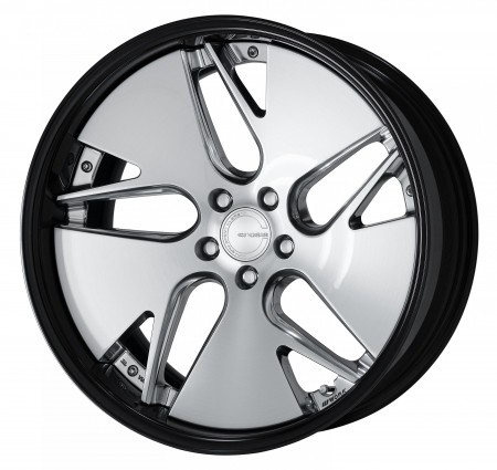COMPOSITE BUFFING BRUSHED [PBU] DEEP CONCAVE CENTRE DISK WITH GLOSS BLACK ANODIZED FLAT RIM