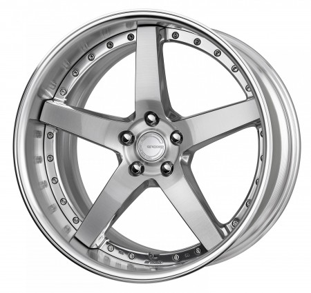 COMPOSITE BUFFING BRUSHED [PBU] CENTRE DISK, POLISHED ANODIZED FLAT RIM WITH CHROME RIVETS