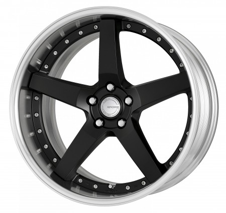 MATT BLACK [MBL] CENTRE DISK, POLISHED ANODIZED FLAT RIM WITH CHROME RIVETS