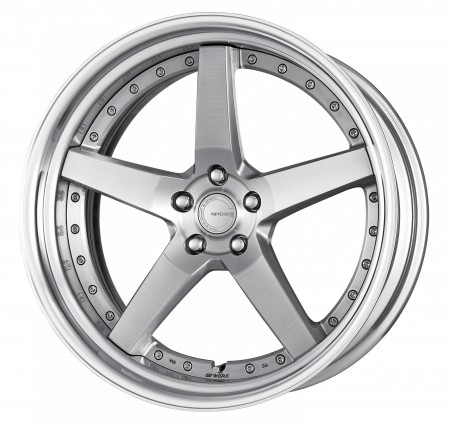 BRUSHED [BRU] CENTRE DISK, POLISHED ANODIZED STEP RIM WITH CHROME RIVETS