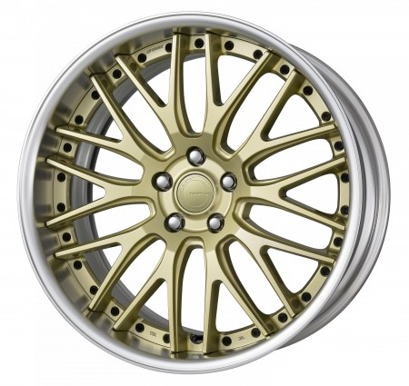 PLATINUM GOLD [PG] CENTRE DISK, POLISHED ANODIZED FLAT RIM WITH BLACK RIVETS