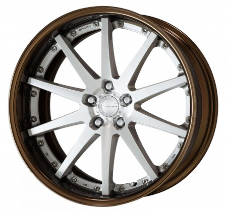 BRUSHED [BRU] CENTRE DISK, GLOSS BRONZE ANODIZED FLAT RIM WITH CHROME RIVETS