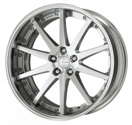 BRUSHED [BRU] CENTRE DISK, POLISHED ANODIZED FLAT RIM WITH CHROME RIVETS