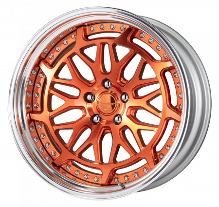 CUT CLEAR COPPER [MCC2] CENTRE DISK, POLISHED ANODIZED STEP RIM WITH CHROME RIVETS