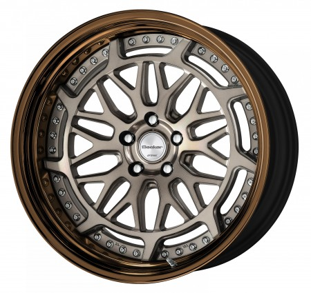 TRANS GRAY POLISH [TGP] CENTRE DISK, GLOSS BRONZE ANODIZED STEP RIM WITH CHROME RIVETS