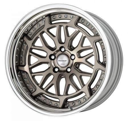 TRANS GRAY POLISH [TGP] CENTRE DISK, POLISHED ANODIZED STEP RIM WITH CHROME RIVETS