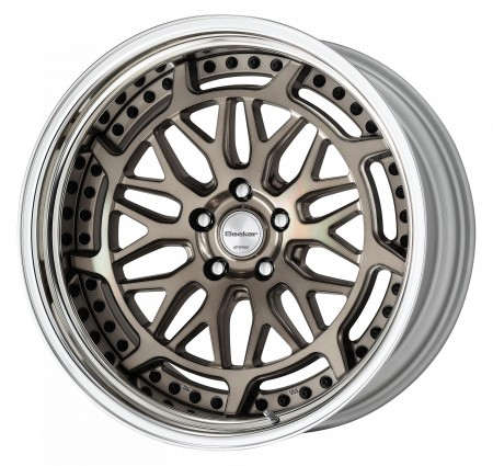 TRANS GRAY POLISH [TGP] CENTRE DISK, POLISHED ANODIZED STEP RIM WITH BLACK RIVETS