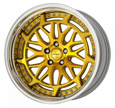 IMPERIAL GOLD [IPG2] CENTRE DISK, POLISHED ANODIZED STEP RIM WITH CHROME RIVETS