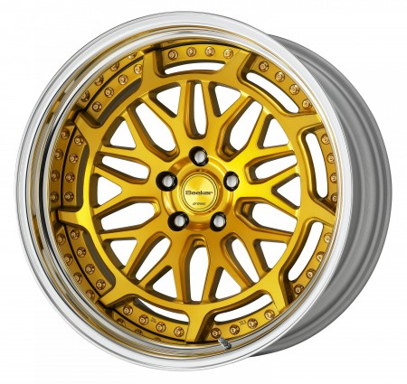 IMPERIAL GOLD [IPG2] CENTRE DISK, POLISHED ANODIZED STEP RIM WITH GOLD RIVETS
