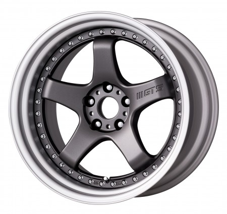 [19 INCH] MATT GUNMETAL [MGM] CENTRE DISK, BRUSHED ANODIZED STEP RIM WITH CHROME RIVETS