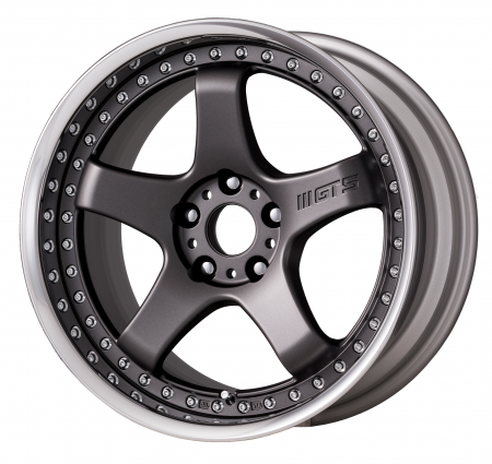 [18 INCH] MATT GUNMETAL [MGM] CENTRE DISK, POLISHED ANODIZED FLAT RIM WITH CHROME RIVETS