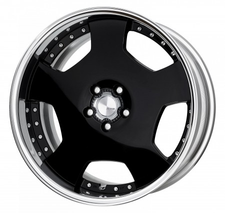 GLOSS BLACK [B] CENTRE DISK, POLISHED ANODIZED FLAT RIM WITH CHROME RIVETS